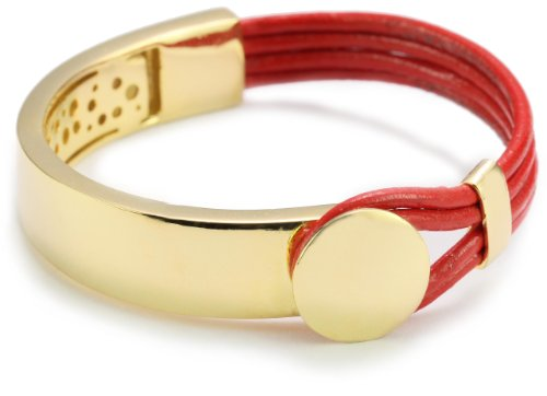 Accessories & Beyond Tomato Color Leather Strand Bracelet