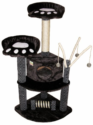 Go Pet Club Cat Tree Condo House, 35W x 24L x 50H, Black