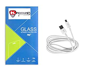 Kronus Micro Usb Data Cable & 2.5D Curve edged Tempered Glass For XOLO Q700S
