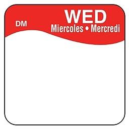 DayMark IT1100723 DissolveMark Day of the Week Trilingual Dissolvable Label, Wednesday, 1\