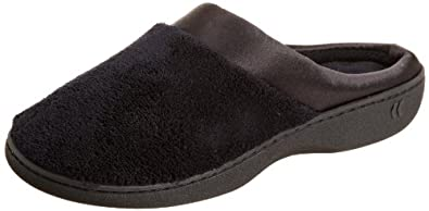Isotoner Women's Micro Terry PillowStep Satin Cuff Clog (Medium / 7.5-8 B(M) US, Black)