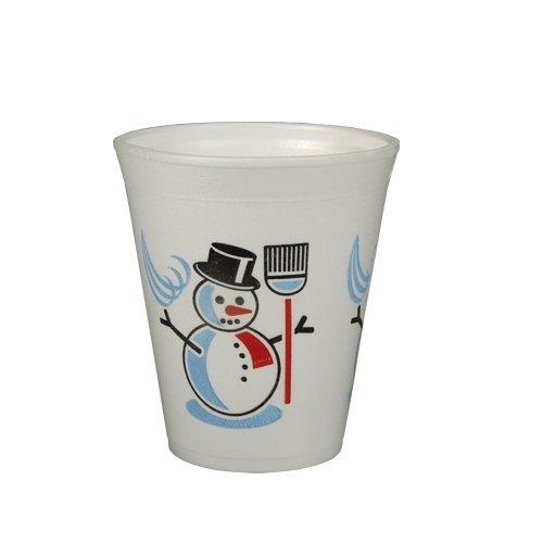 """Papstar 50 Tasses - Thermo Mug - """"Bonhomme De Neige"""" - 0,2 L Ø 7,9 Cm 9,1 Cm - Boissons Chaudes (Vin Chaud, Café, Thé) - Gobelets Jetables, Gobelets Festifs - Blanc"""