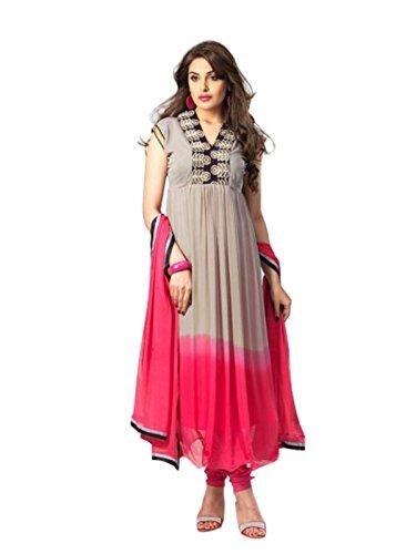 Shreeji Fashion Womens Latest Fabulous Anarkali Suits, (Grey& Pink)