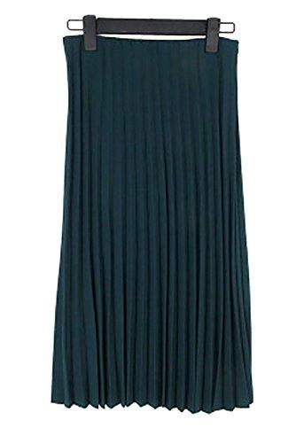 ELPIS レディース ウエスト ゴム プリーツ スカート ロング ミモレ 丈 人気 カラー 全8色 フリーサイズ ( ダークグリーン )