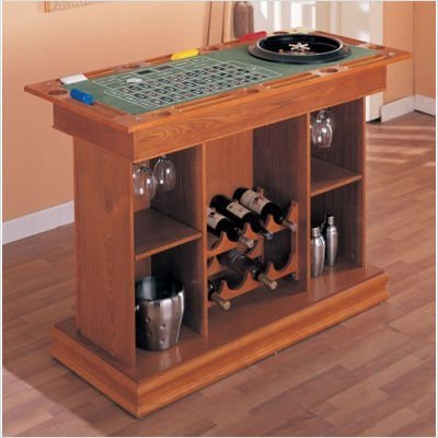 Coaster All In One Game Table/Bar Unit With Wine Shelves Includes, Roulette, Blackjack And Craps, Cherry Finish front-506836