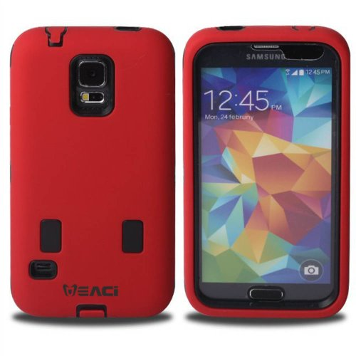 Meaci® Samsung Galaxy S5 I9600 Combo Hybrid Defender High Impact Body Armorbox Hard Pc&Silicone Case -(Red&Black)