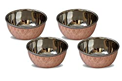 Tara India Copper & Steel Katori (Set of 4) (Multicolor,3)
