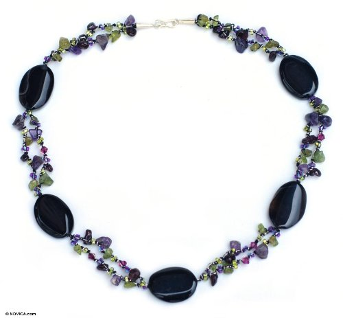 Onyx and amethyst beaded necklace, 'Enchantment'