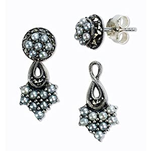 French Twist 2 in 1 Silver Stud and Drop Natural Seed Pearl Earrings