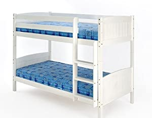 3ft Single Bunk Bed White Wash Finish Solid Pine Wood Christopher