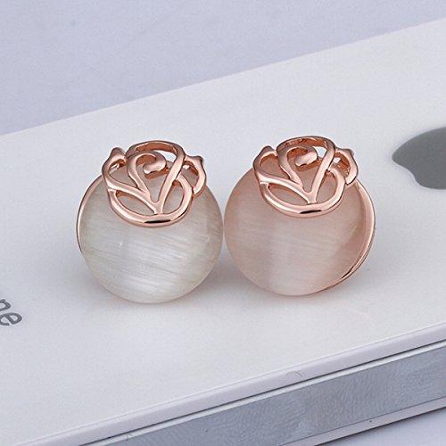 2Pcs 18K Single Opal Tin Alloy Stud Earrings Rose Golden By Preciastore