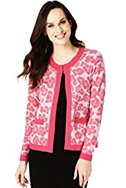 Pure Cashmere Animal Print Cardigan