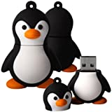 Shop4 8GB Black / White Cute Penguin Shape Novelty USB Data Memory Stick Storage Device with Key Chain