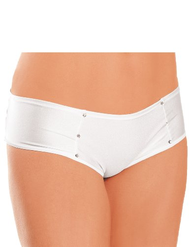 Jeweled Front Back Strap Booty Shorts White