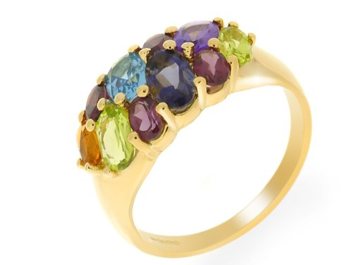9ct Yellow Gold Multi-Gem Ladies Ring