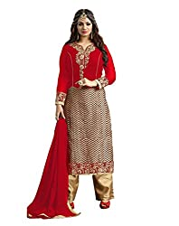 Adorn Mania Red Georgette Embroidered salwar Suits Dress Material