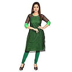 AnjuShree Choice Women's Green Cotton Straight Fancy Stitched Kurta Kurti (XX-Large)