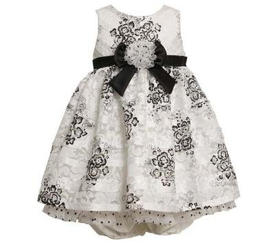 Bonnie Jean Baby Girls Black / White Lace Flower Holiday Dress , Black / White, 12 Months front-969905