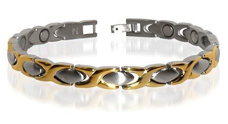 Two Tone Titanium Magnetic Hugs & Kisses Bracelet 7.5