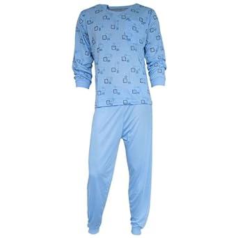 Herren Schlafanzug Pyjama Zweiteiler lang 2-tlg mit V-Ausschnitt Nr. 4659, Farbe:hellblau;Größe:M