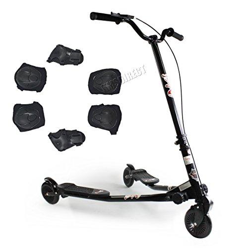 foxhunter-kids-black-large-tri-motion-push-scooter-swing-trike-slider-striker-drifter-speeder-with-3