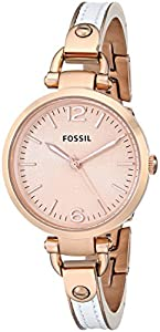 Fossil Women's ES3261 Georgia White/Rose Stainless Steel/Leather Watch