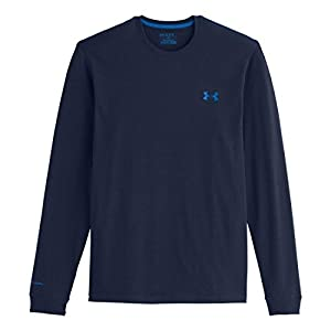 Mens Under Armour Charged Cotton Long Sleeve T, Academy/Scatter/Dark Blue, LT