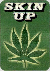 Skin Up - With Marijuana Pot Leaf on Green - Sticker / Decal (Hemp)