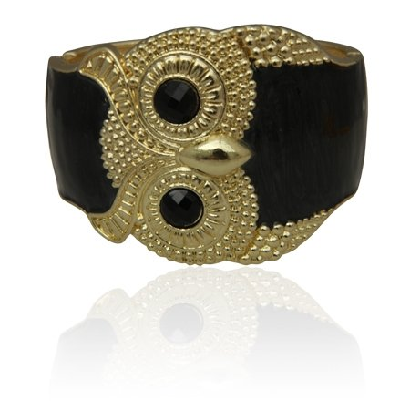 MizEllieCostume Jewellery Egyptian Splendour Black Owl and Gold Tone Hinged Bangle Bracelet ,Can Make An Ideal Gift With Free Elegant Organza Jewellery Pouch