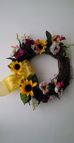 Sunflowers and Pansy Flower Front Door Wreath