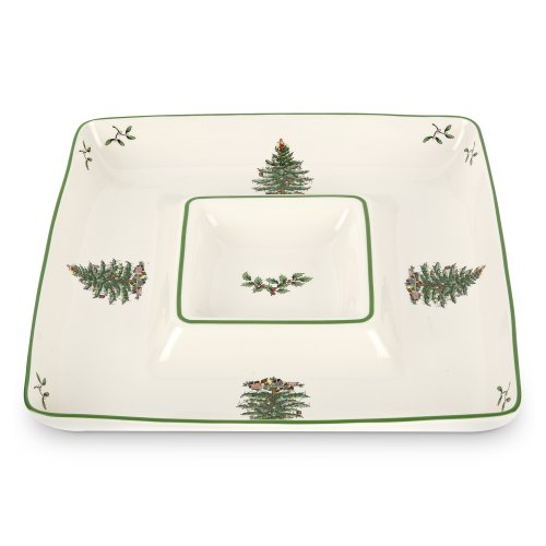 Spode Christmas Tree Square Chip and Dip, 12-Inch