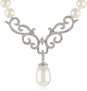 10k White Gold Scroll Design Diamond and Freshwater Pearl Drop Necklace, 18