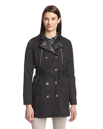 Kensie Women's Trench with Faux Leather