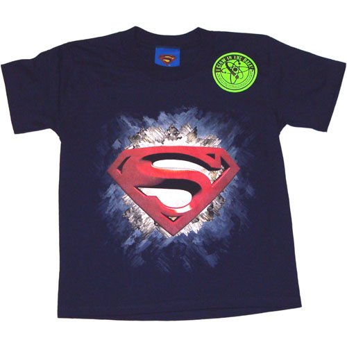Superman Returns Glow in the Dark Logo Crystal Navy Blue Boys T-Shirt Discount