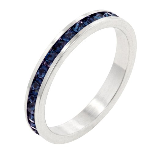 Sapphire Blue Cubic Zirconia CZ Stone Silver Tone Eternity Ring (Size 5,6,7,8,9,10)