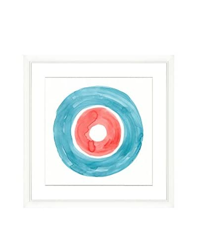 Teal & Salmon Circle Original Watercolor Painting