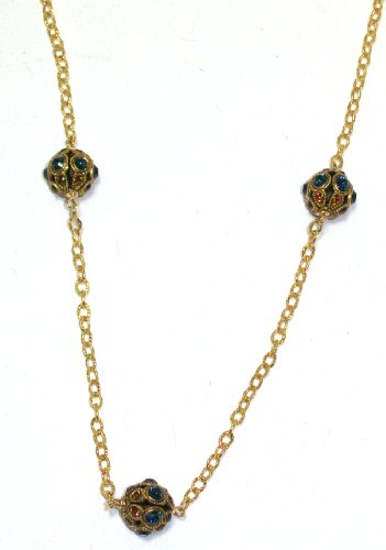 Pearlstone 14K Gold Filled Vintage Inspired Pave Crystal Ball Strand Necklace With 3 Montana Blue and Topaz Swarovski Crystals