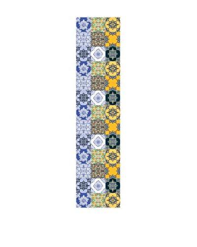 Huella deco Läufer aus Vinylal blau/gelb