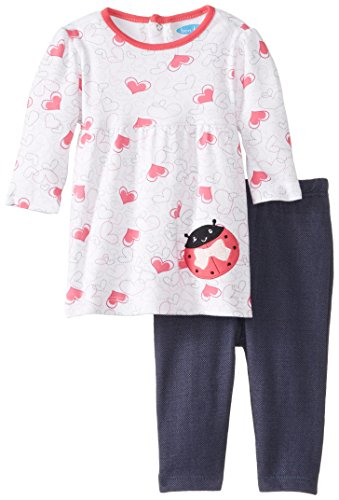 Bon Bebe Baby-Girls Newborn Hearts And Ladybug 2 Piece Dress And Legging Set, Multi, 3-6 Months front-1008109