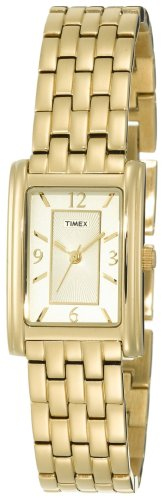 Timex Ladies Quartz Watch with Gold Dial Analogue Display and Gold Bracelet T2N050P4