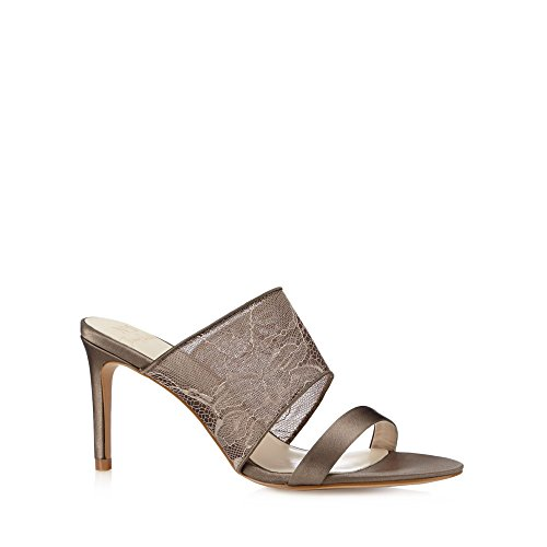 No. 1 <strong>Jenny Packham Womens Designer Taupe Lace Strap High Mule Sandals