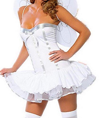 La vogue 3-teilig Engel Kostüm Schlauch Kleid Heiligenschein Flügel für Cosplay
