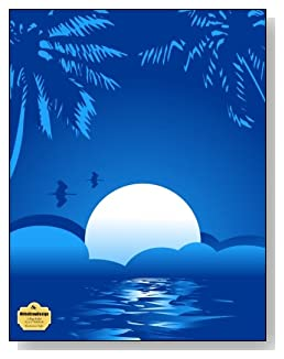Blue Summer Night Notebook - Peaceful and tranquil is the look of the blue tropical moon setting that graces the cover of this college ruled notebook.