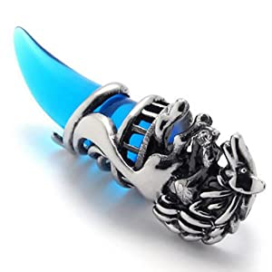 """18"""" KONOV Jewelry Wolf Tribal Mens Stainless Steel Necklace Pendant, Silver Blue, 18 inch Chain"""