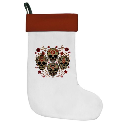 Christmas Stocking Flower Skulls Goth