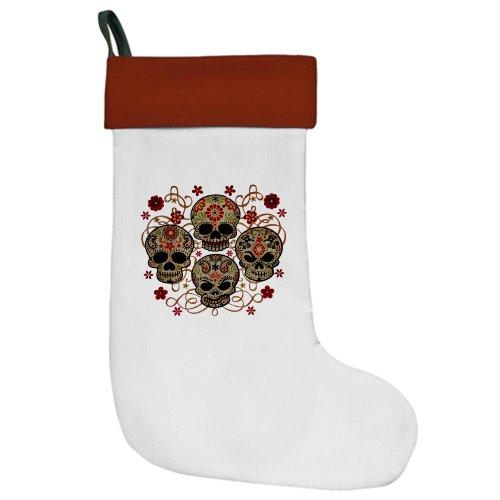 Christmas Stocking Flower Skulls Goth