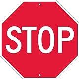 "NMC TM34R Traffic Sign, ""STOP"", 18"" Width x 18"" Height, Rigid Plastic, White on Red"