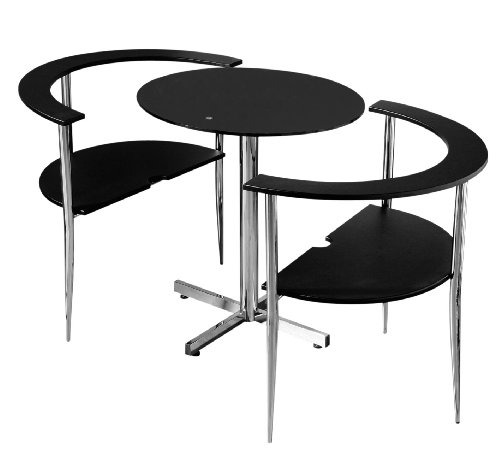 Premier Housewares Love Dining Table and Chair Set - Round Shaped with Black Tempered Glass Top and Chrome Legs - 75 x 80 x 94 cm - 3-Piece