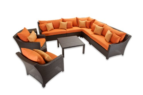 RST Brands OP-PESS9-TKA-K Tikka 9-Piece Corner Sectional Sofa and Club Chairs Set image
