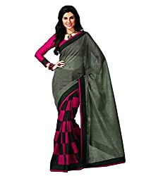 KRIZEL Pink Bhagalpuri Silk Saree With Blouse